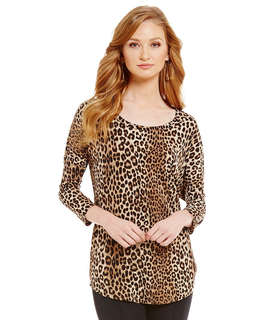 MICHAEL Michael Kors Panther Animal Print Matte Jersey 3/4 Sleeve Top