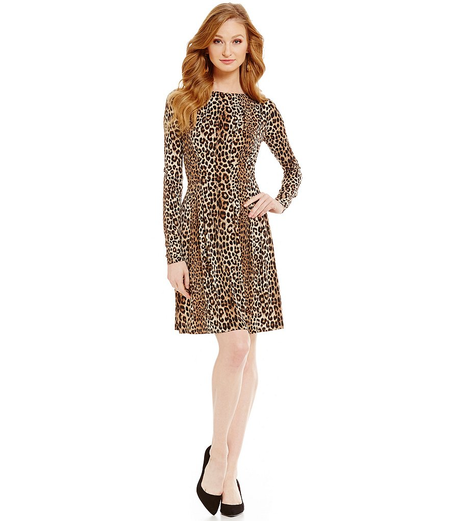 MICHAEL Michael Kors Panther Print Matte Jersey Pleated A-Line Dress