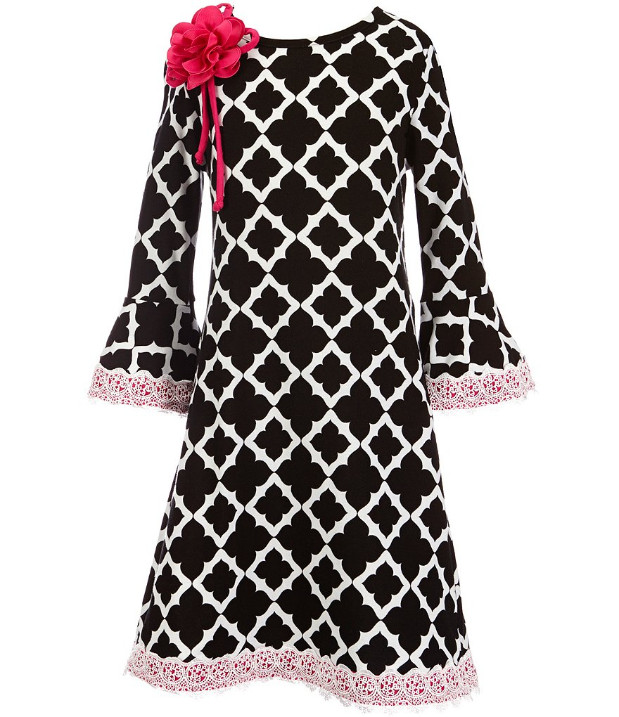 Rare Editions Big Girls 7-16 Geometric-Print Lace-Trim Dress