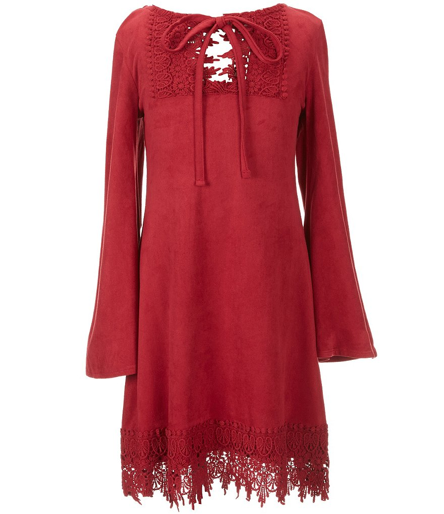 Tween Diva Big Girls 7-16 Crochet Faux-Suede Dress