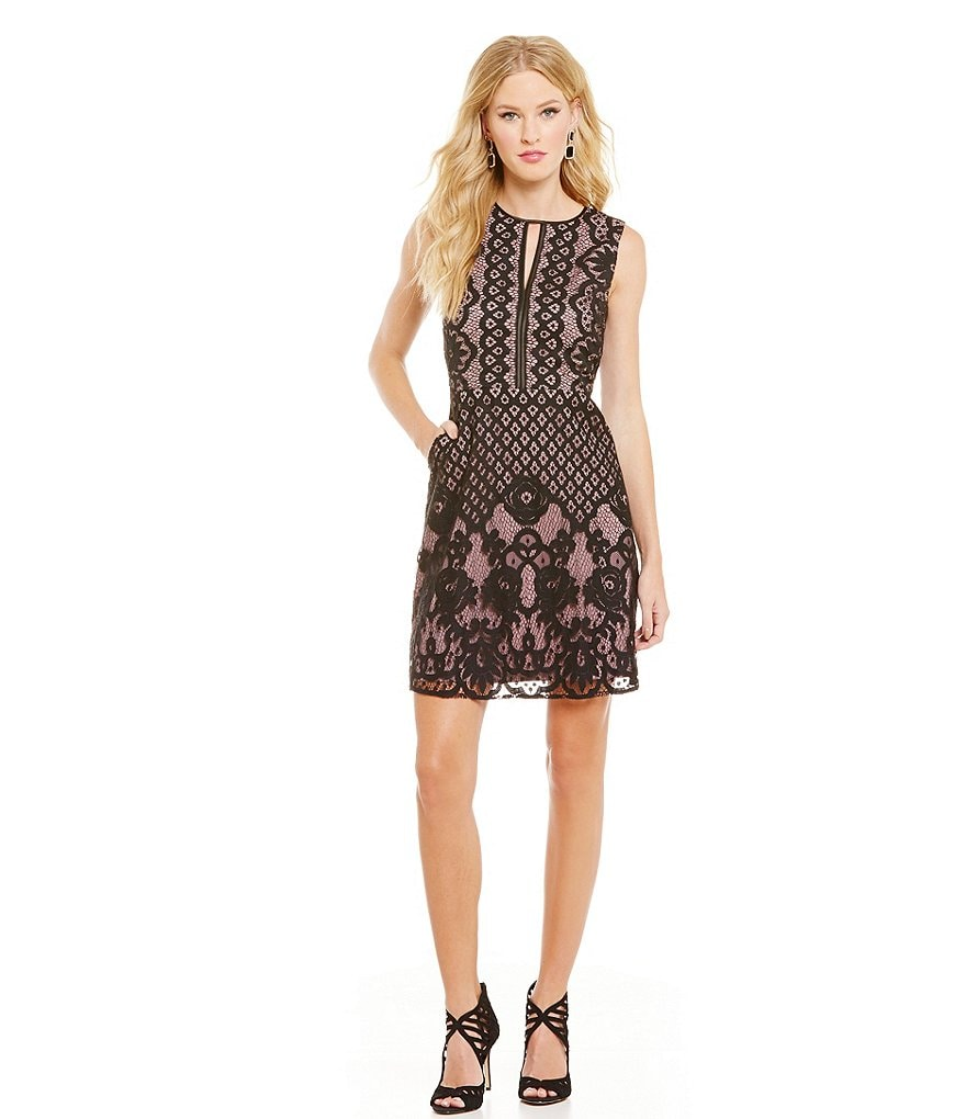 ERIN erin fetherston Ellis Lace Bar-Neck Cocktail Dress
