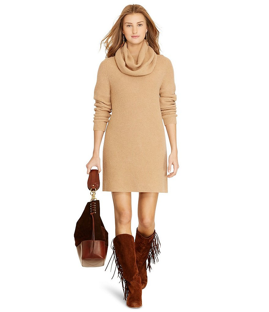Polo Ralph Lauren Wool-Cashmere Turtleneck Dress