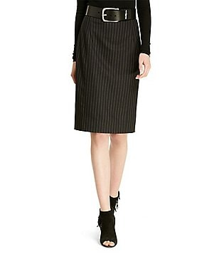 Polo Ralph Lauren Pinstriped Stretch Wool Pencil Skirt