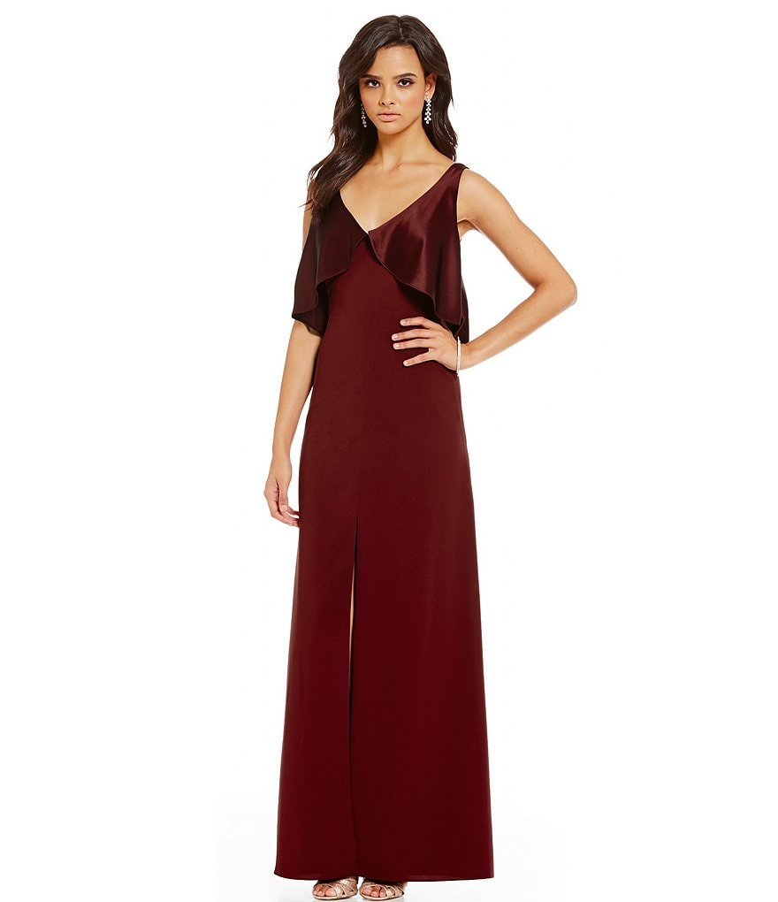 Jill Jill Stuart Sleeveless Satin Ruffle Cape Gown