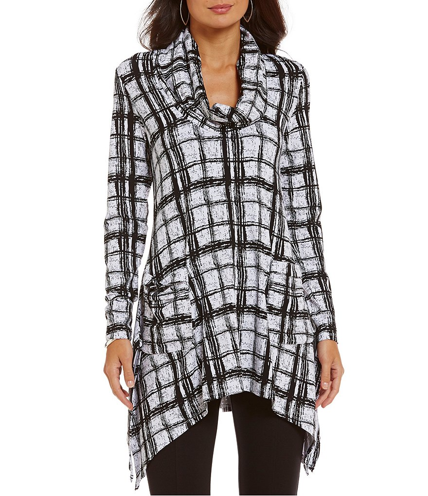 Chelsea & Theodore Shattered Plaid Cowl Neck Tunic