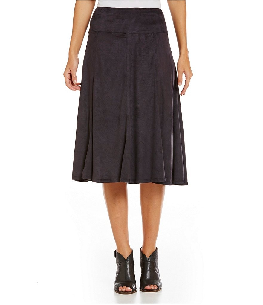 Intro Faux-Suede Flare Solid Midi Skirt