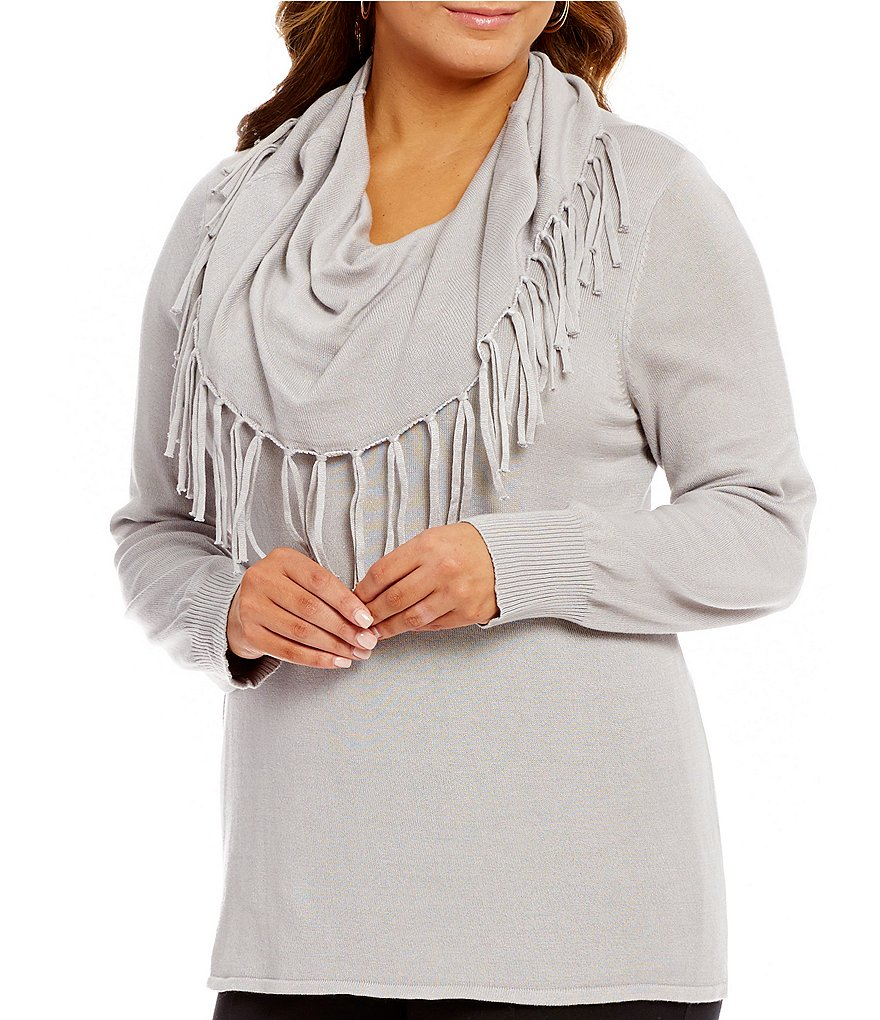 Multiples Plus Long Sleeve Fringe Cowl Neck Swing Sweater