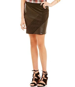 I.N. San Francisco Faux-Suede Faux-Leather-Paneled Miniskirt