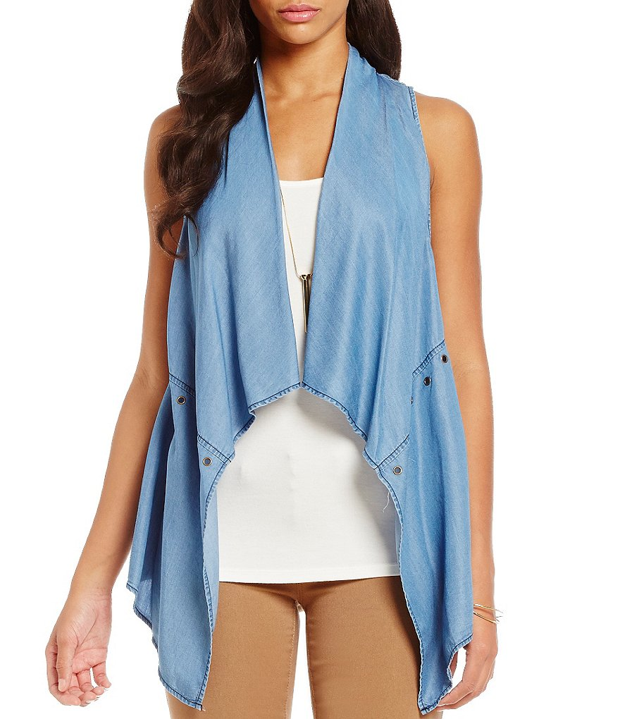 Soulmates Chambray Vest Two-Fer Top