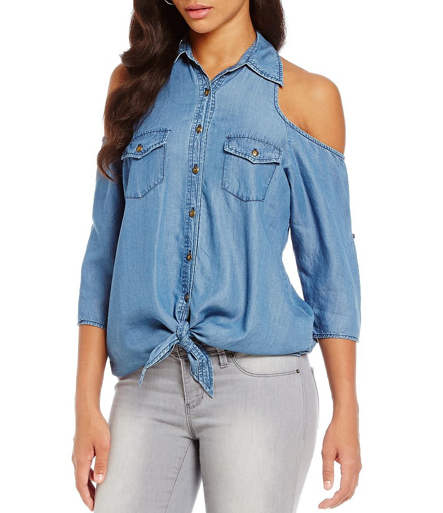 Soulmates Cold-Shoulder Chambray Shirt