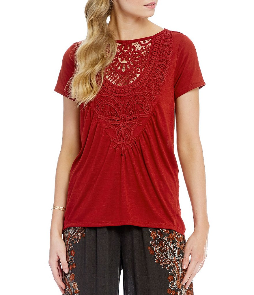 Coco + Jaimeson Crochet Applique Front Draped Back Tee