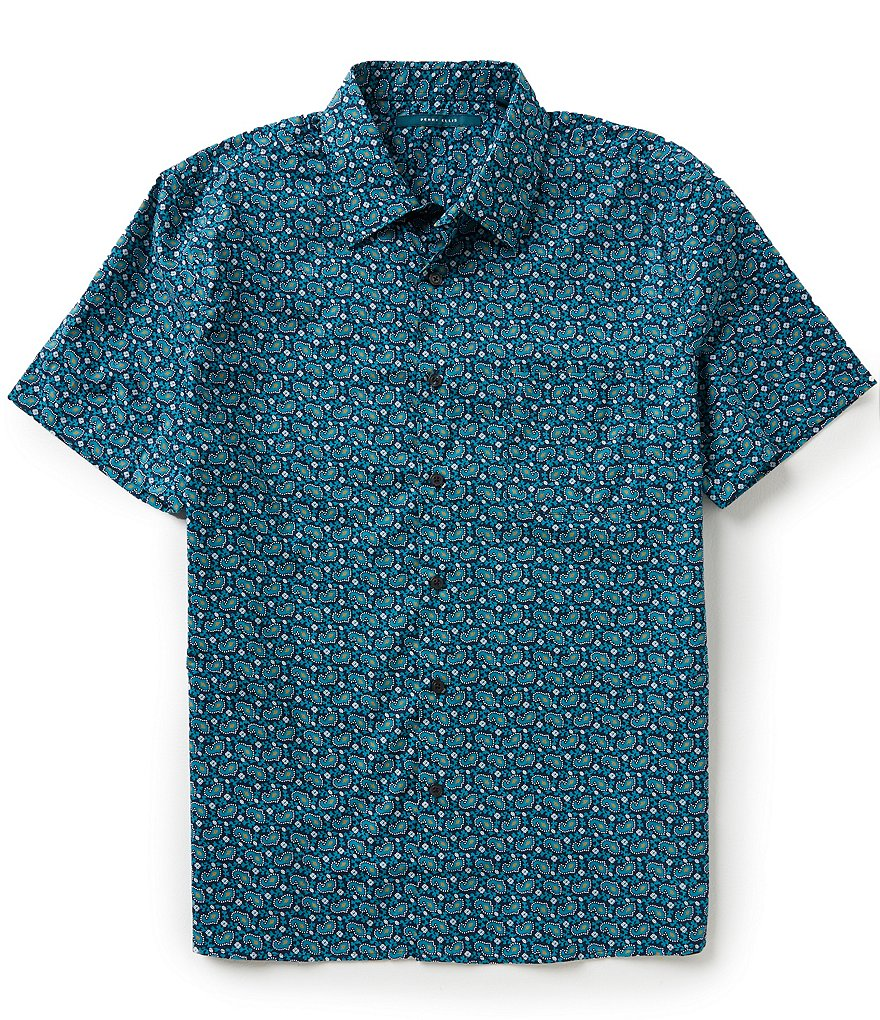 Perry Ellis Short-Sleeve Beach-Print Woven Shirt