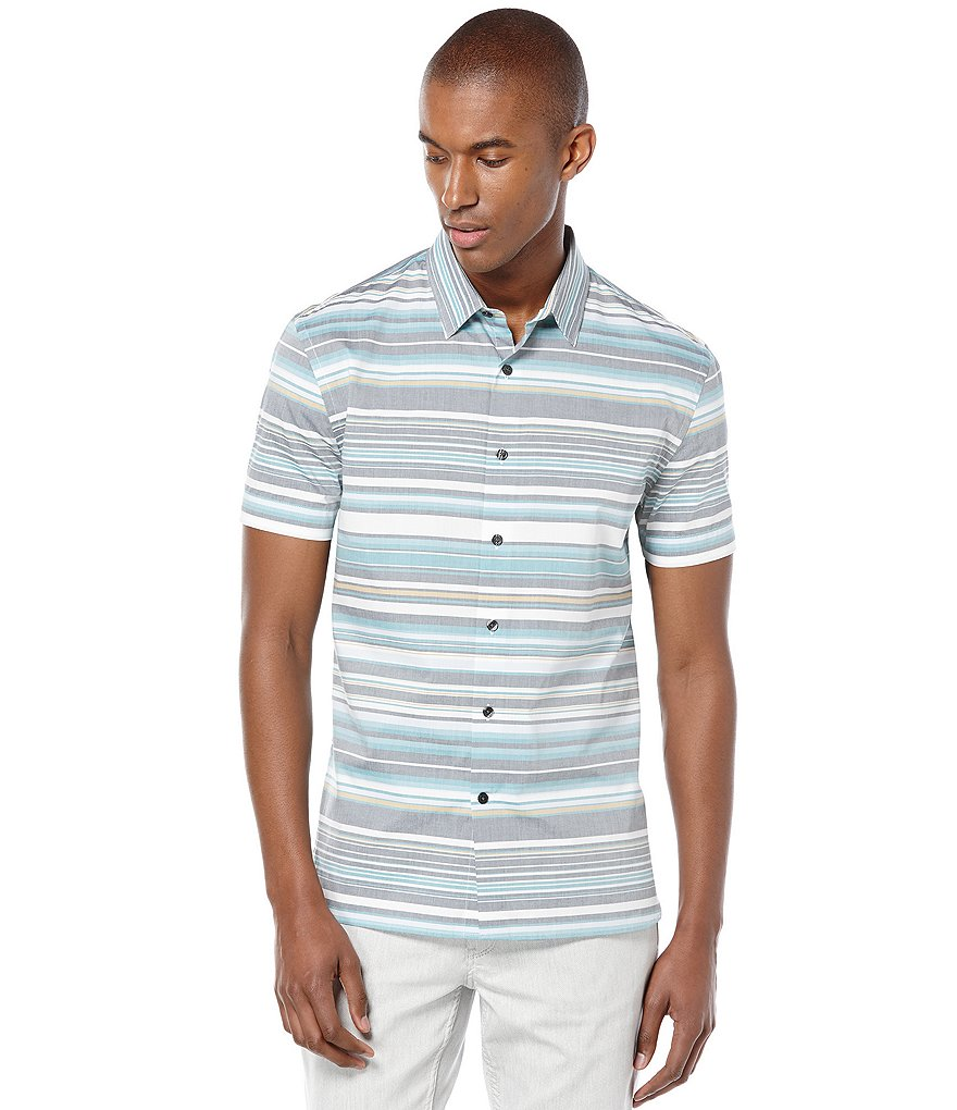 Perry Ellis Short-Sleeve Horizontal Striped Woven Shirt