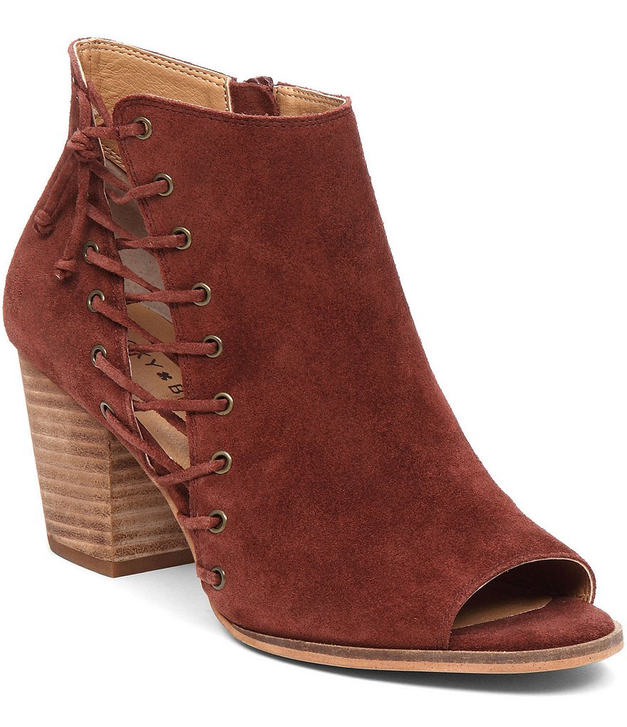 Lucky Brand Hartlee Side Lace Up Suede Booties