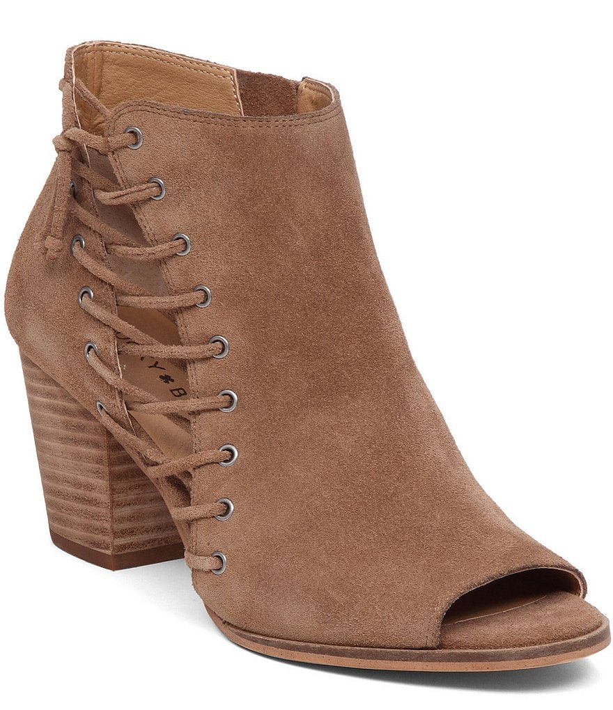 Lucky Brand Hartlee Side Lace Up Suede Peep-Toe Booties