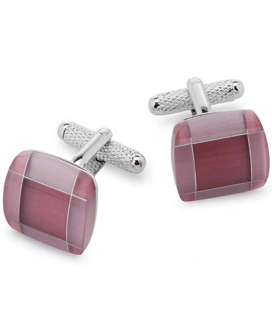 Murano Pink Cats Eye Cuff Links