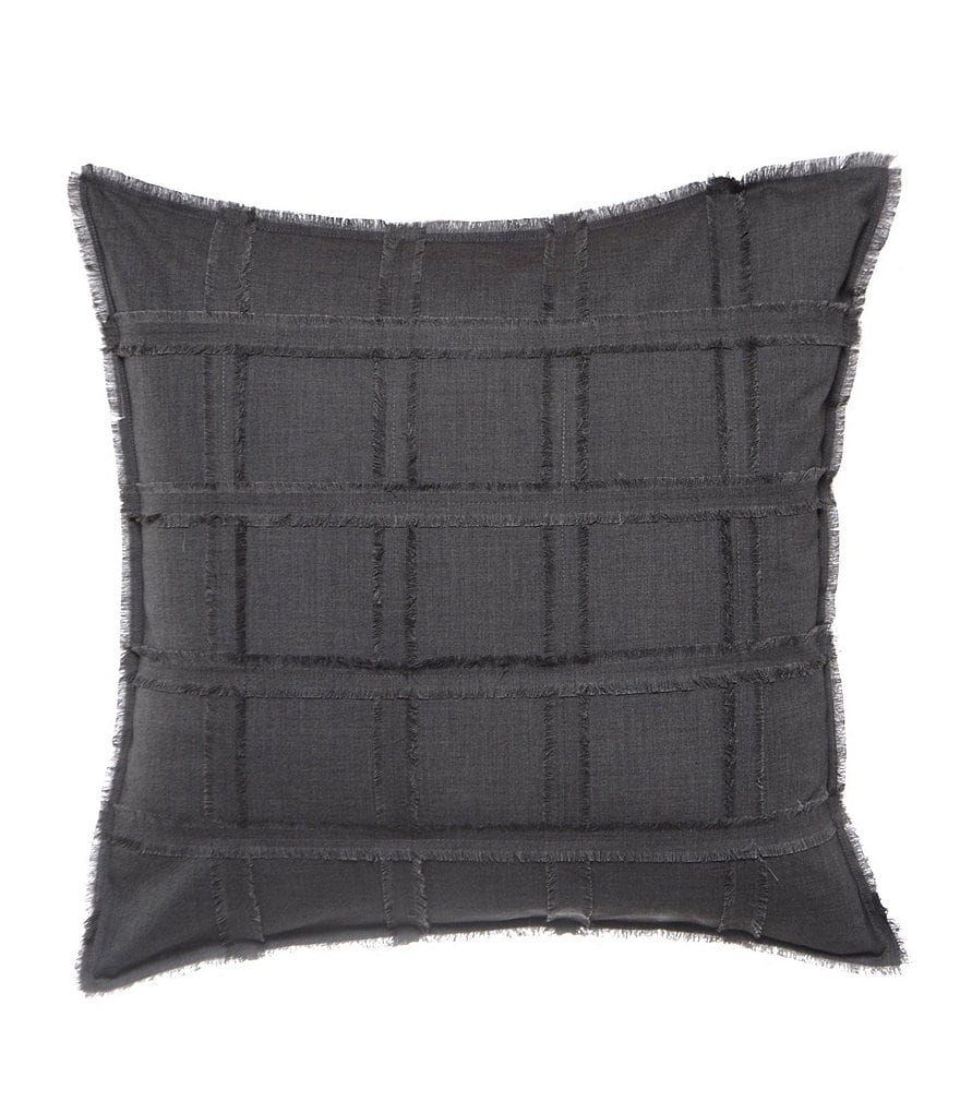 candice OLSON Finesse Frayed Grid Square Pillow
