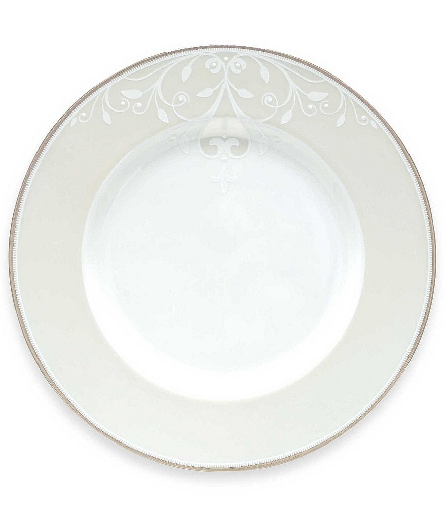 Lenox Opal Innocence Scroll Platinum Bone China Accent Salad Plate