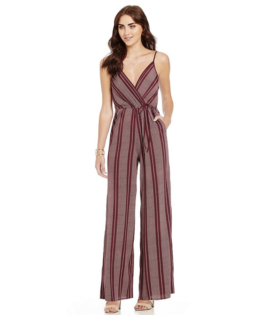 Band Of Gypsies Surplice Pinstripe Jumpsuit