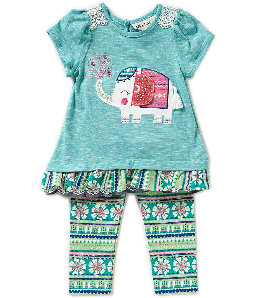 Rare Editions Baby Girls 3-24 Months Elephant Top & Mixed-Print Leggings Set