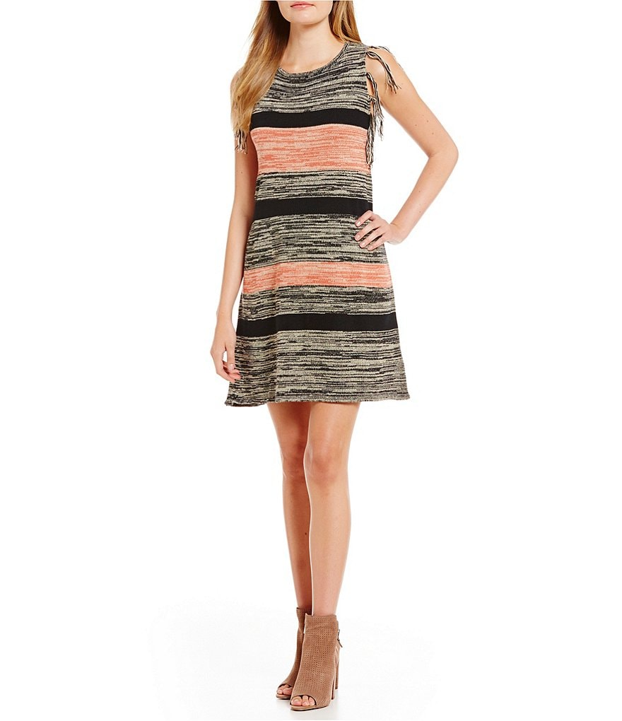 THML Striped Fringed Sleeveless Sweater Dress