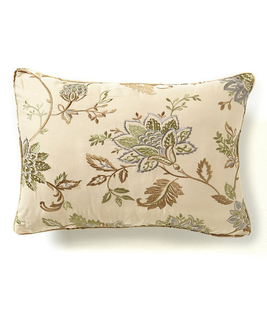 Villa by Noble Excellence Lorraine Embroidered Botanical & Damask Breakfast Pillow