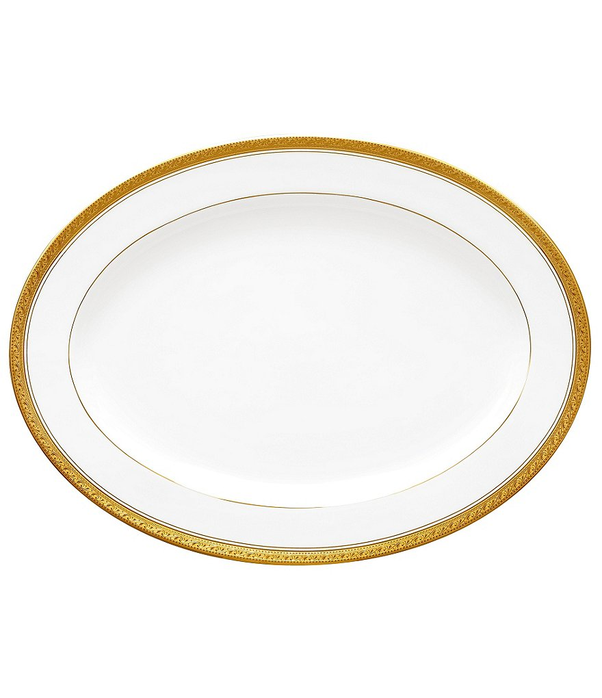 Noritake Crestwood Gold Embossed Scroll & Leaf Bone China Oval Platter