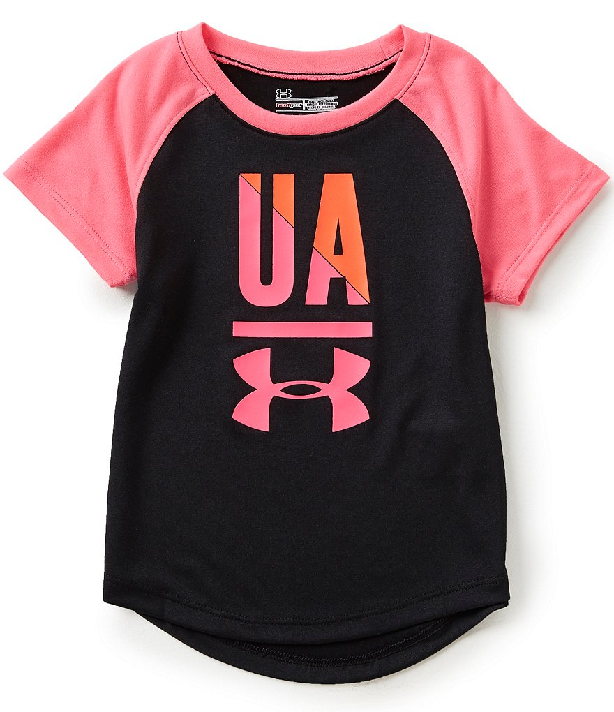 Under Armour Little Girls 2T-6X Favorite Raglan-Short-Sleeve Tee