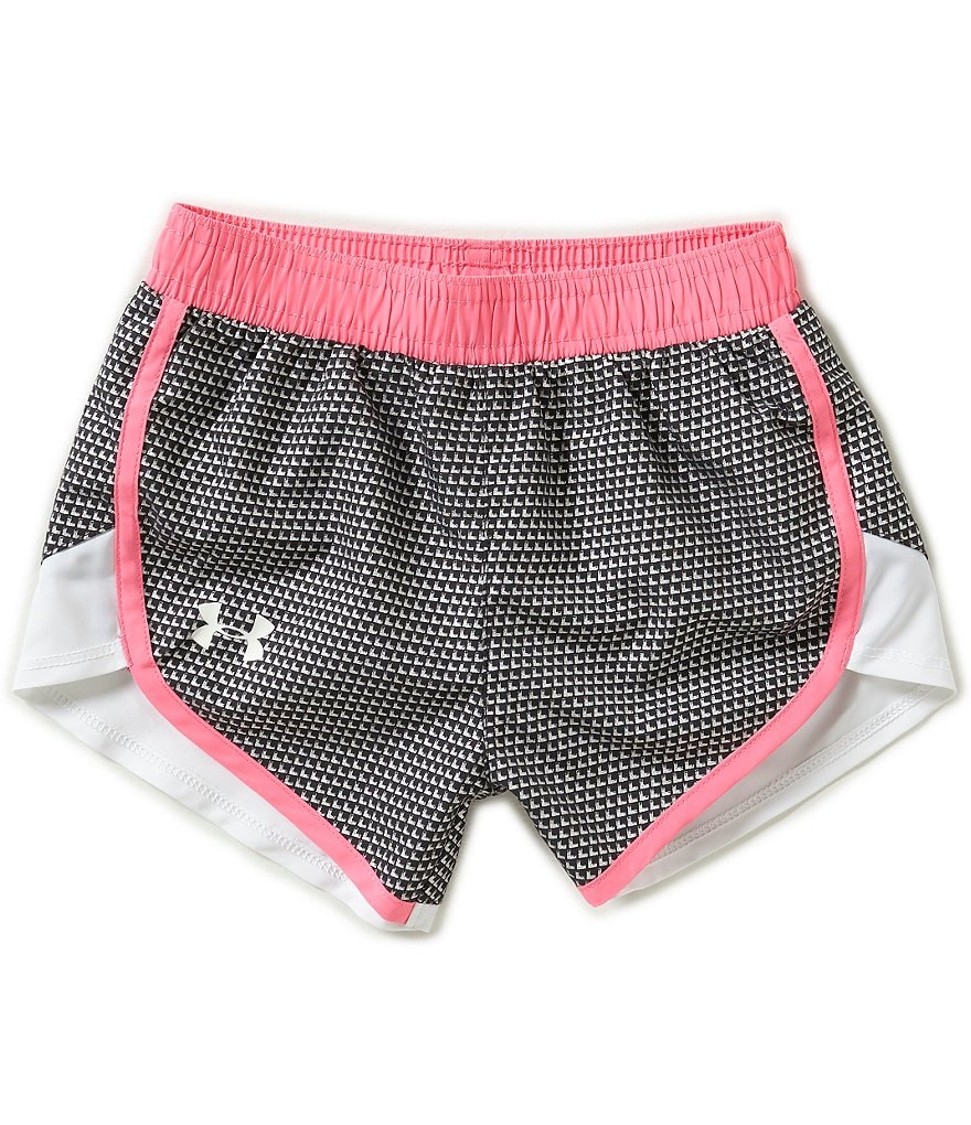 Under Armour Little Girls 2T-6X Checkpoint Fast Lane Color Block Shimmer Shorts