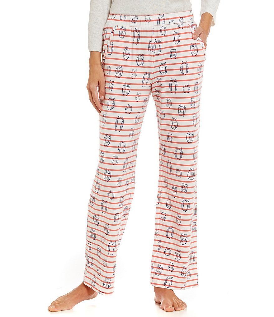 Sleep Sense Stripe & Owls Printed Jersey Knit Sleep Pants