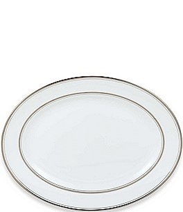kate spade new york Library Lane Platinum-Striped Oval Platter Image