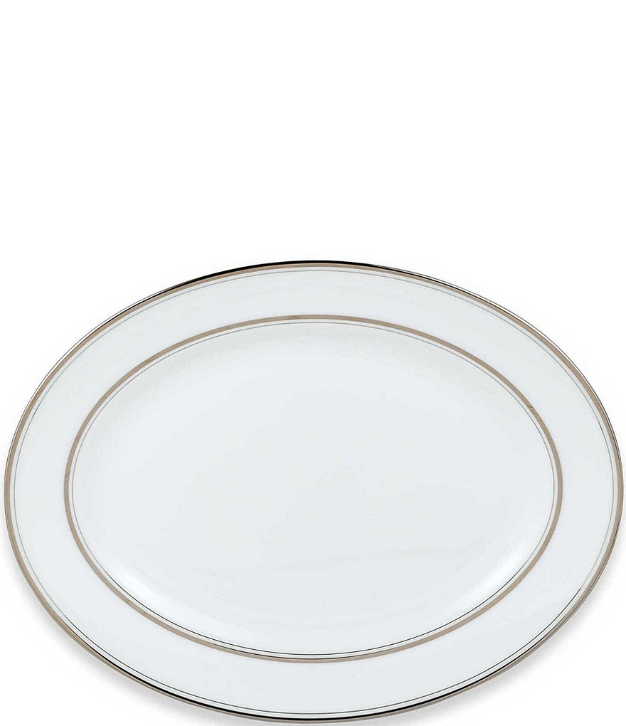 kate spade new york Library Lane Platinum-Striped Oval Platter