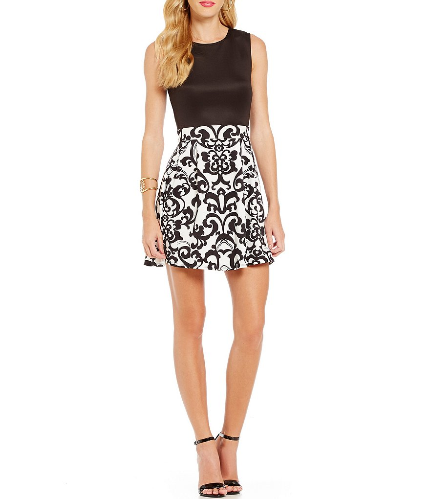 B. Darlin Solid Top to Scroll Print Skirt A-line Dress