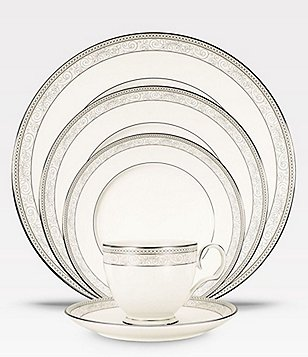 Noritake Meridian Cirque Filigree Platinum 5-Piece Place Setting