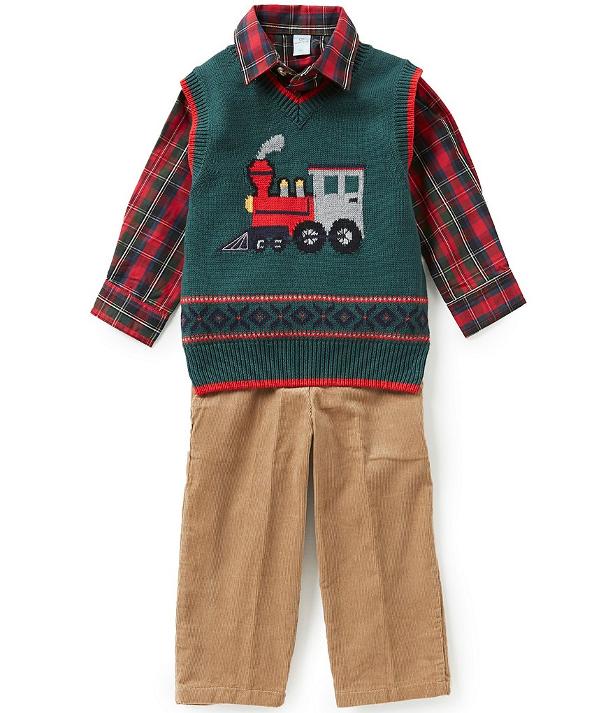 Class Club Little Boys 2T-7 3-Piece Christmas Train Sweater, Shirt, and Corduroy Pants Set