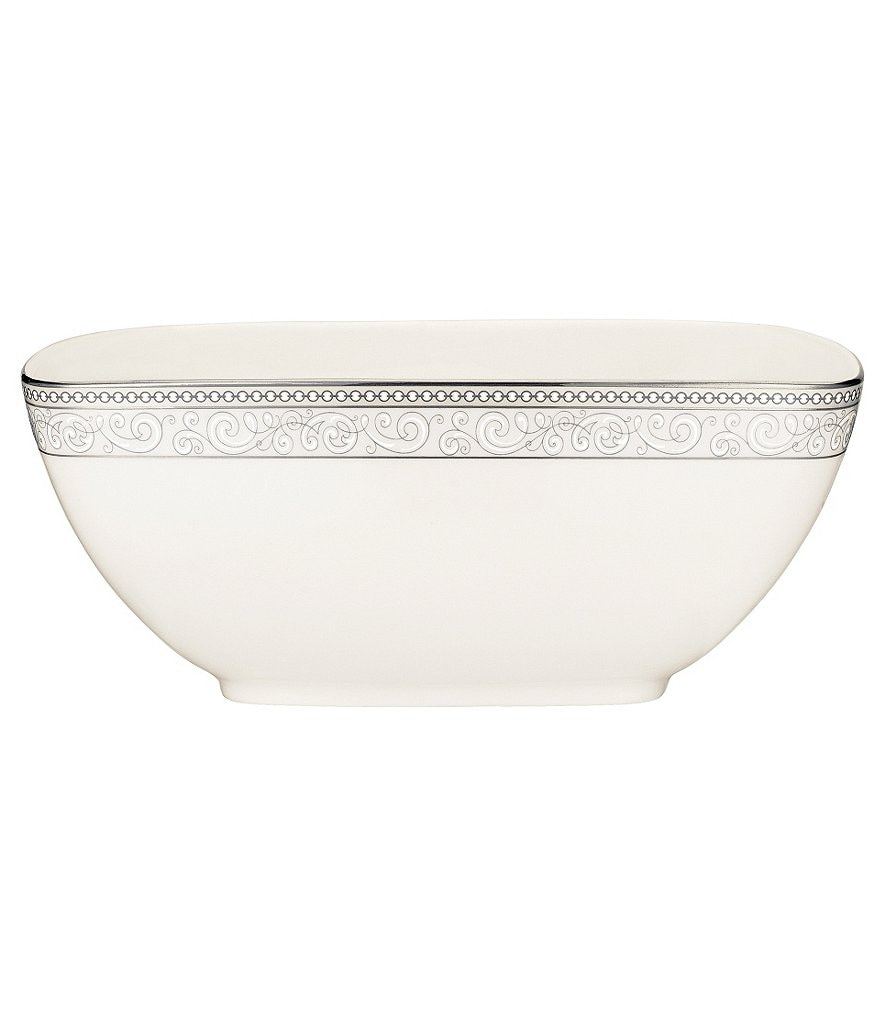 Noritake Meridian Cirque Filigree Platinum Large Square Bowl