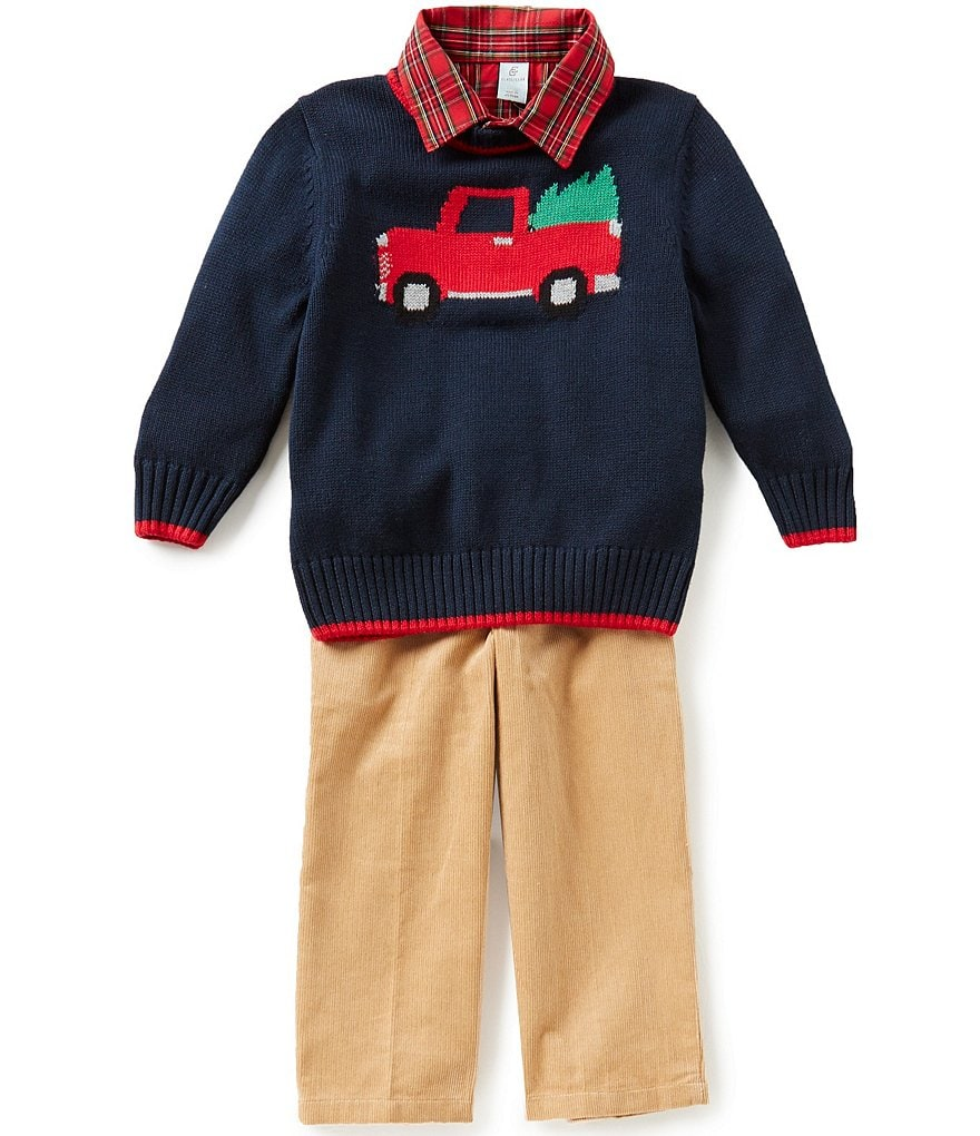 Class Club Little Boys 2T-7 3-Piece Christmas Sweater, Shirt, and Corduroy Pants Set