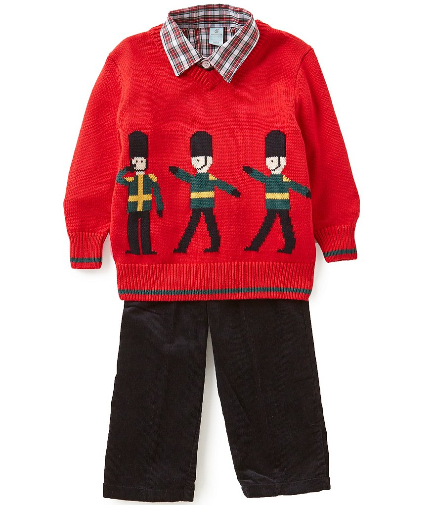 Class Club Little Boys 2T-7 Christmas Nutcracker 3-Piece Sweater, Shirt, and Corduroy Pants Set