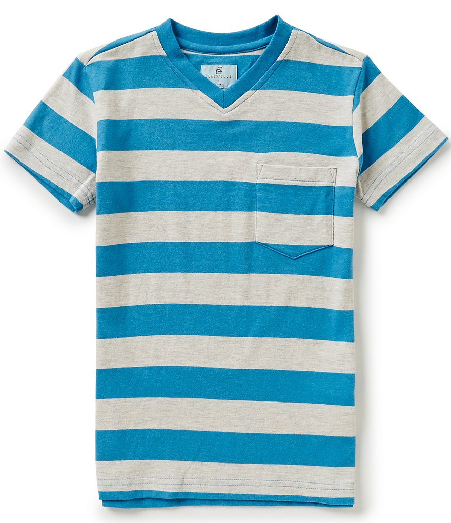 Class Club Big Boys 8-20 Striped V-Neck Tee