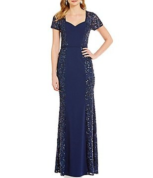 JS Collections Sweetheart Neck Sequin Lace Gown