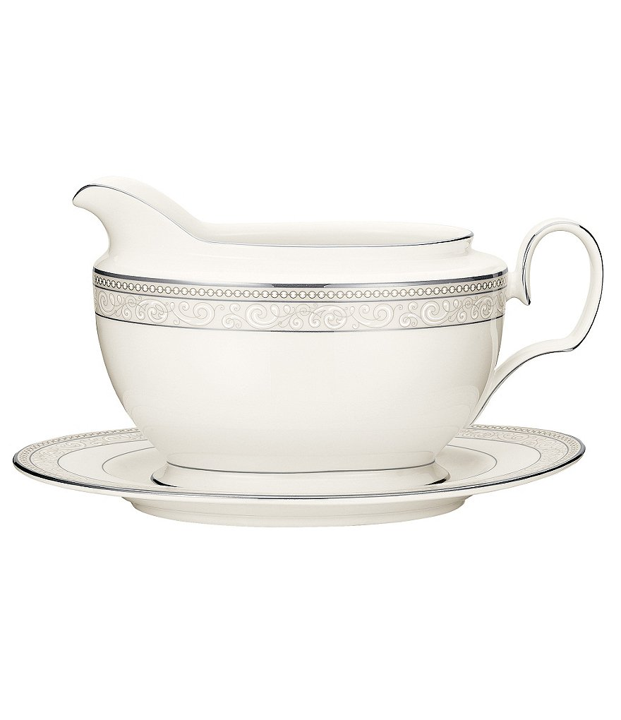 Noritake Meridian Cirque Filigree Platinum Gravy Boat with Stand