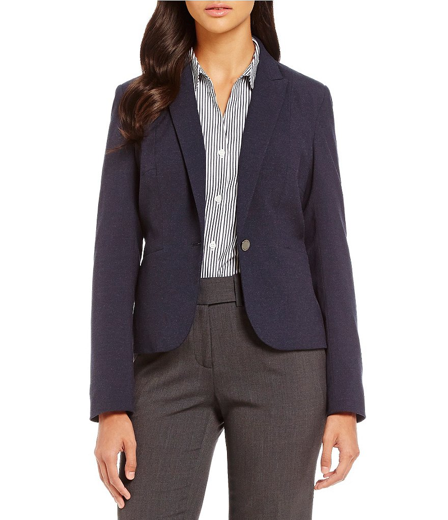 Calvin Klein Heathered Luxe Stretch One-Button Suit Jacket