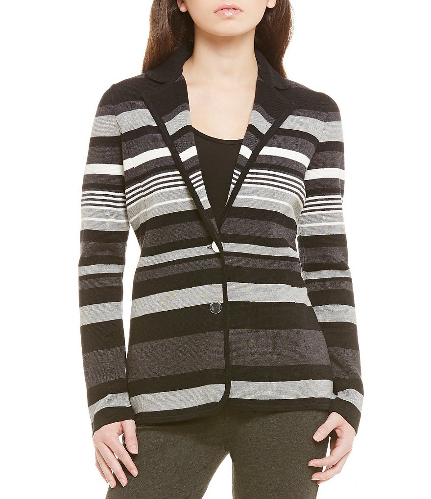 Calvin Klein Stripe Fine Gauge Knit Notch Collar Jacket
