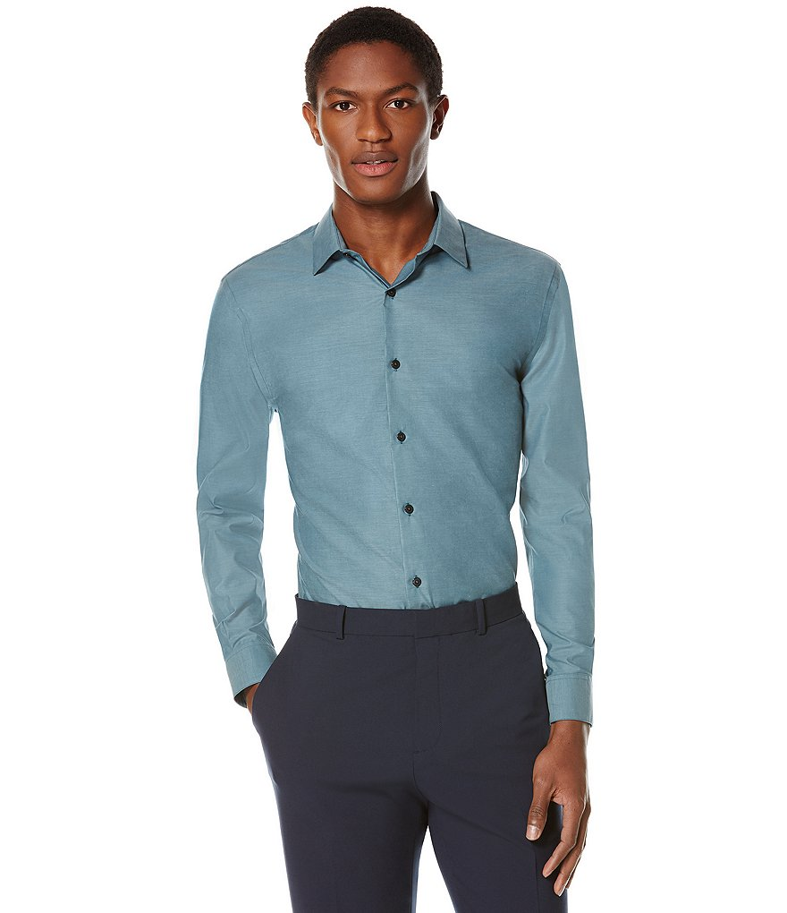 Perry Ellis Non-Iron Long-Sleeve Solid Woven Shirt