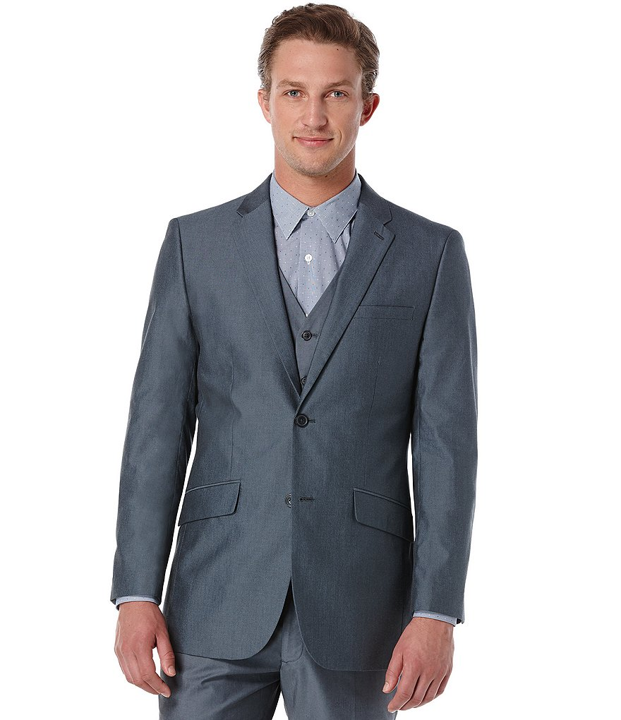 Perry Ellis Slim-Fit Chambray Jacket