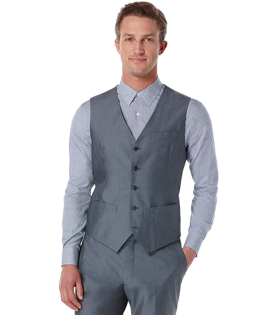 Perry Ellis Slim-Fit Chambray Vest