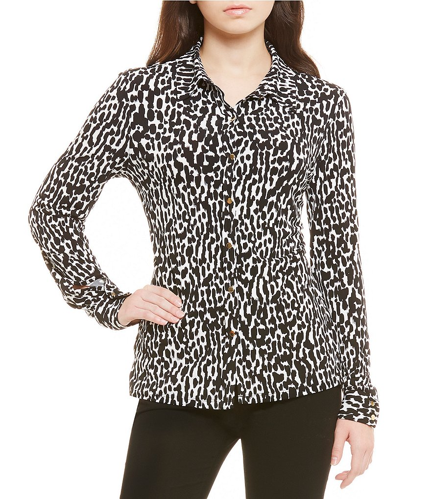 Calvin Klein Animal Print Matte Jersey Long Sleeve Fold-Back Cuff Shirt