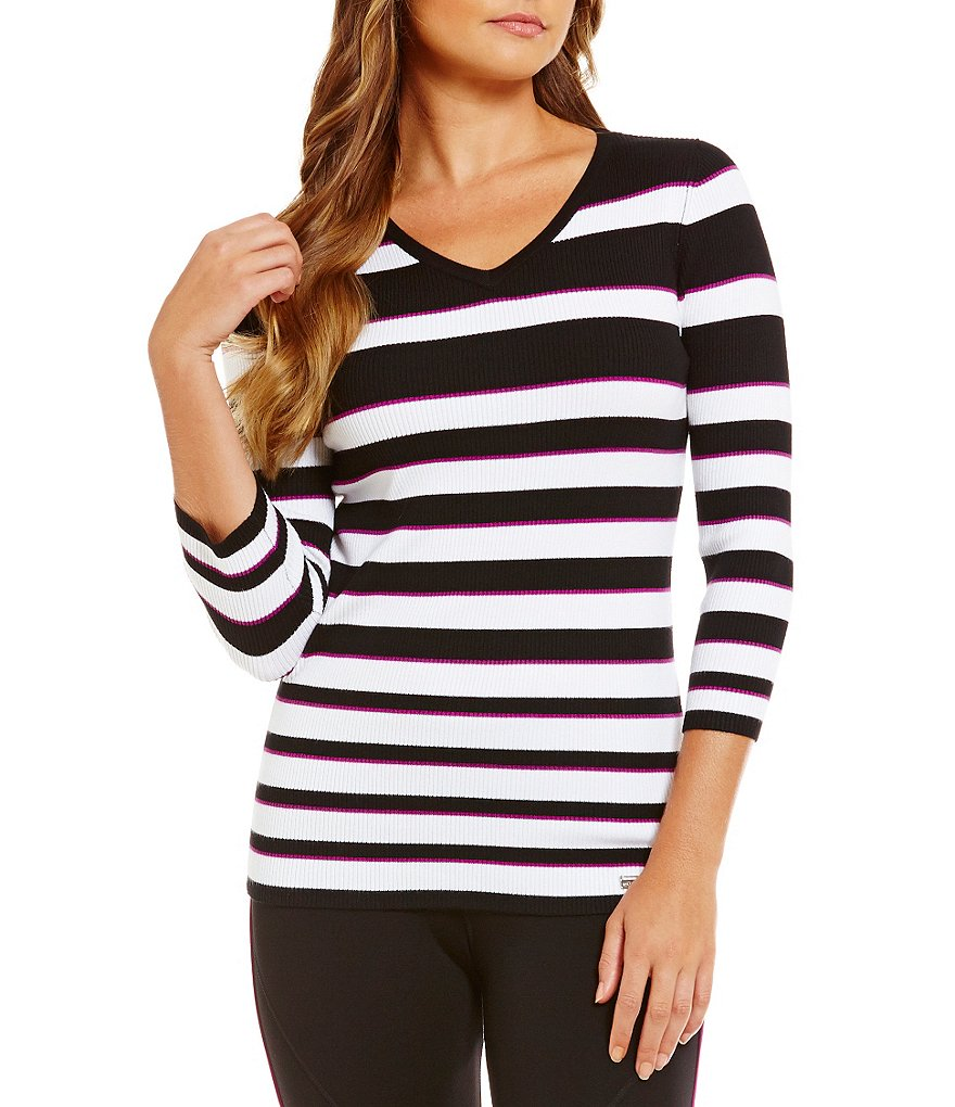 Peter Nygard Performance Striped Ribbed Tee
