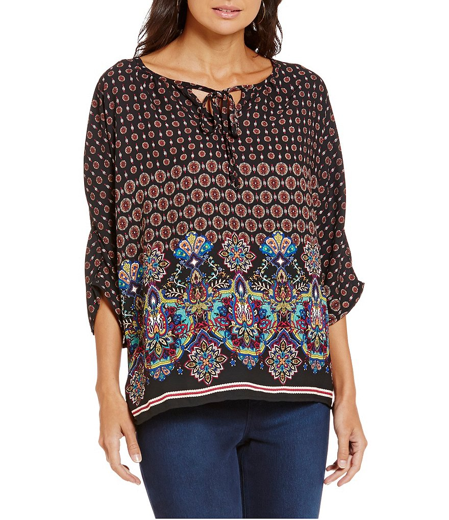 Bobeau Tie Neck 3/4 Sleeve Border Print Woven Top