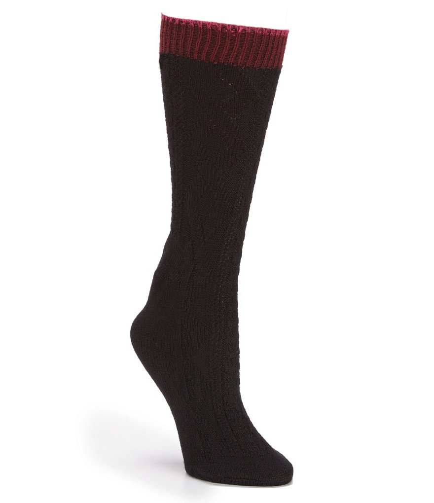 HUE Tipped Cable Boot Socks